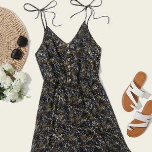 Blue/Brown Button Front Romper in 3XL